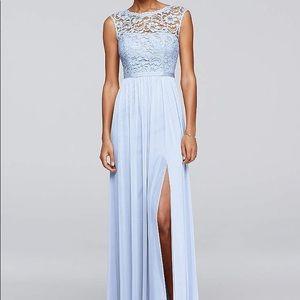 David's Bridal Ice blue lace bridesmaids dress